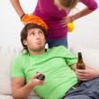 Young couch potato — Stockfoto