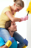 Enjoyment in housework — Stok fotoğraf