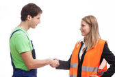 Physical worker with his boss — Stock Photo