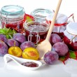 Fruits and jam jars — Stock Photo #36477109