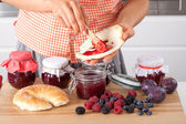 Croissant with home-made jam — Stock Photo