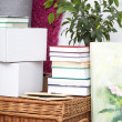 Books on wicker box — Stock Photo