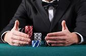 Gambler wins all the money — Stock Photo