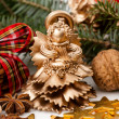Christmas statue- gold angel — Stock Photo