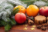 Christmas decoration and sweets — Stock Photo