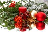Elegant christmas decoration on mirror — Stock Photo