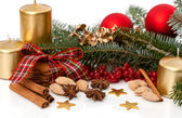 Candles, spruce and christmas spices — Stock Photo