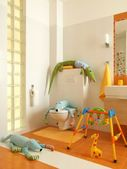 Child colorful bathrom with toys — Stock Photo