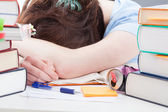 Student sleeping after studying — Stock Photo