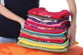 Laundry on ironing board — Stock Photo