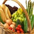 Shopping basket with vegetables, bread and fruits — Stock Photo
