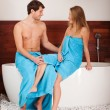 Couple sitting on bathtub — Stock Photo