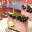 Raspberry birthday girl's torte — Stock Photo