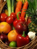 Combination of vegetables and fruits — Stock Photo