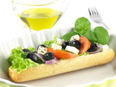 Garnished vegetarian sandwich — Stock Photo