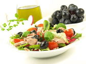 Healthy style low-fat breakfast with tuna salad — Stock Photo