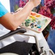 Disabled painter closeup — Stock Photo