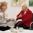 Elder women meeting — Stockfoto
