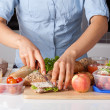 Healthy lunch preparing — Stock Photo