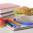 Tasty sandwiches and school supplies — Stock Photo #37202671