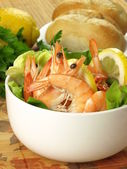 Dietary dish with prawns — Stock Photo