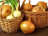 Basket of onions — Stock Photo