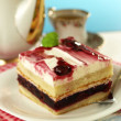 Cherry cake with tea — Stock Photo