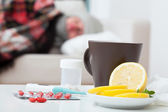 Come down with flu — Stock Photo
