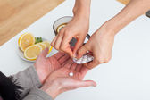 Giving a medicine to a patient — Stock Photo