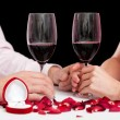 Stock Photo: Proposal wine glasses