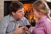 Couple wine toast — Stock Photo