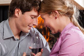Inlove people drinking wine — Stock Photo