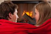 Under red blanket — Stock Photo