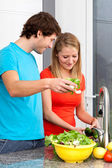 Young people prefer healthy food — Stock Photo