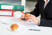 Break for coffee with croissant — Stock Photo
