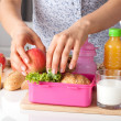 Pink lunch box for little girl — Stock Photo
