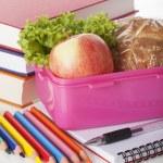 School pink lunch box — Stock Photo