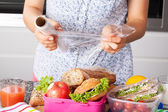 Packing food for lunch — Stock Photo