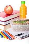 Healthy lunch with school supplies — Stock Photo