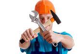 Mecánico cruzando las herramientas — Foto de Stock