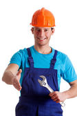 Handy man welcoming — Stock Photo