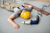 Workman injured at work — Stock Photo