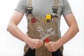 Arbeider met tools — Stockfoto
