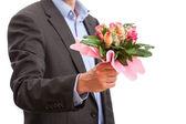 Rosas de explotación de hombre — Foto de Stock