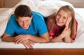 Fun in bed — Stock Photo