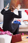 Woman is frustrated of mess at home — Stock Photo