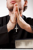 Priest concentrated on a prayer — Foto Stock