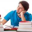 Stock Photo: Thoughtful student during the studying