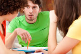 Students discussing about project — Stock Photo