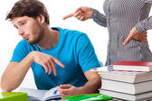 Lazy student with angry teacher — Stock Photo